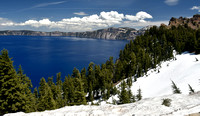 Crater Lake Snow and clouds